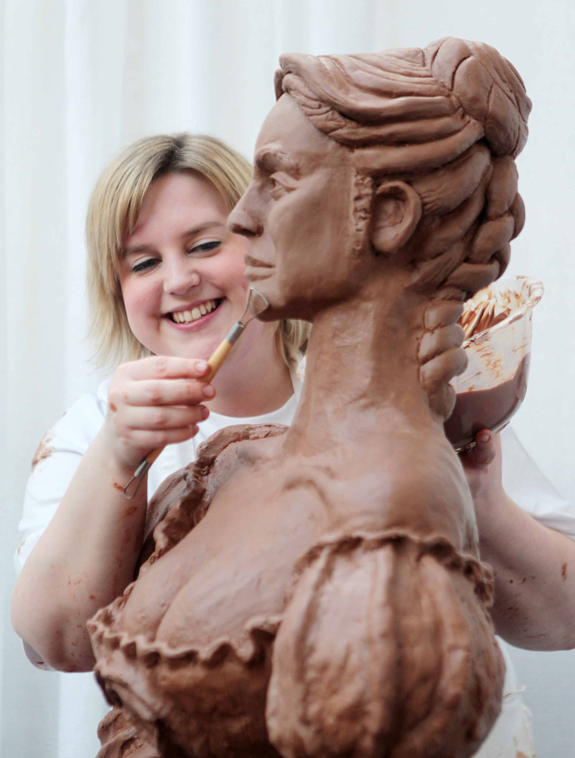 Prudence live sculpting Molly Malone from Cadbury chocolate
