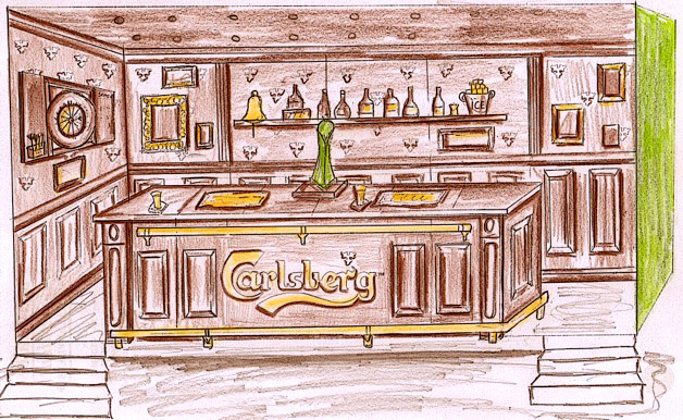 Carlsberg bar pencil sketch